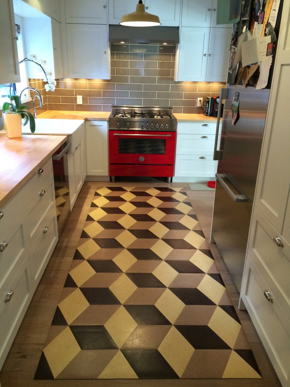 Block hand cut linoleum inlay functional practical low profile for Hardwood floors quad cities