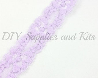 """1"""" Lavender lace elastic - lace elastic by the yard - Lace for headbands - Lavender lace by the yard in 1, 3 or 5 yards"""