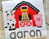 Barn Farm Animals Digital Machine Embroidery Applique Design 4 sizes, barn applique, farm animals applique, barn animals applique,