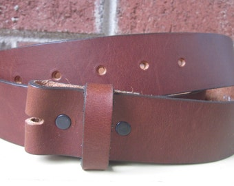 "Size XX-Large (46 inches) Full grain soft leather brown snap belt strap 1.5"" soft leather belt for changing belt buckles 1.5 inches wide"