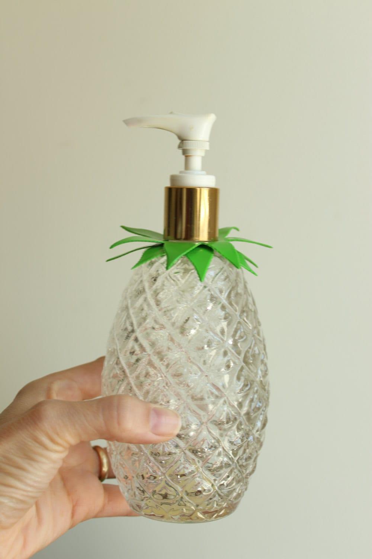 Vintage Glass Pineapple Lotion Soap Dispenser Avon