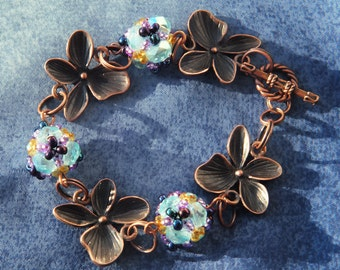 Flower Bracelet With Beadwoven Beads, Checz Glass Seed Beads, Copper, Light Blue, Violet, Gold