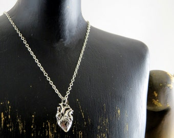 Anatomical heart necklace, sterling silver heart necklace, sterling silver anatomical heart necklace, gift for her