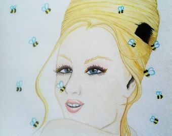 Beehive Original Watercolor Painting