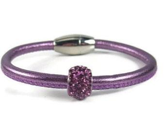 Purple Leather Bangle, Womens Leather Bracelet, Leather Bangle Bracelet, Womens Leather Jewelry, Womens Bracelet, Rhinestone Bracelet