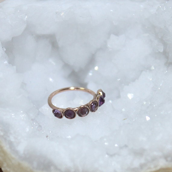2mm Amethyst Nose Ring - Gold Nose Hoop - Rook Piercing - Cartilage Earring - Tragus Earring - Daith Ring - Helix Hoop - Nose Piercing 20g