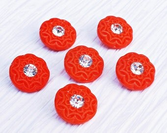 Set of 6 Very Bright Red Glass Rhinestone Buttons ~ 18mm ~ Rare Antique CZECH GLASS BUTTONS ~ Set of 6 Vintage Buttons