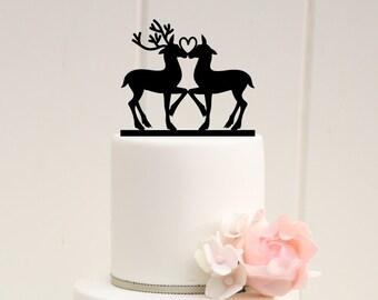 Deer in Love Wedding Cake Topper - Custom Cake Topper