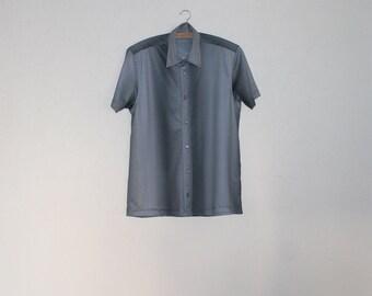 Grey Striped Mens Button up Shirt Short Sleeve Gentlemen's Dress Shirt Gray