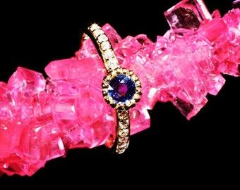Stackable Diamond Blue Sapphire Ring 18 Karat Yellow Gold Handmade Pave Diamond Ring