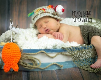 Baby fisherman crochet outfit hat gone fishing hat fisherman for Baby fishing outfit