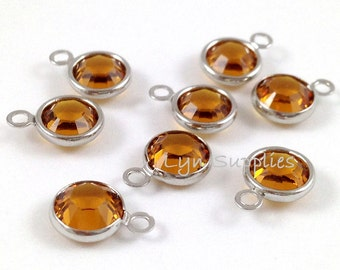 57700 TOPAZ 8pcs Swarovski Crystal Channel Drops Rhodium Plated One Loop - November Birthstone Drops