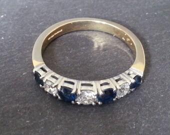 Eternity Ring, Sapphire Diamond Ring, Wedding Band Engagement Ring, Gold Sapphire & Diamond Ring, Vintage Wedding Jewelry, Wedding Band