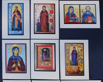 Artist cards with icons of British Lady Saints  [British Female Saints]