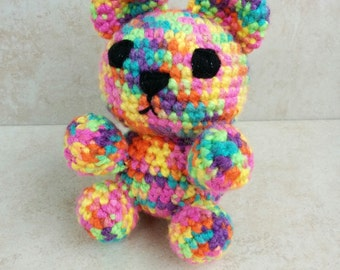 Rainbow Teddy Bear. Handmade Crochet bear. Gift for baby. Gift for child. Gift for love. LGBT gift. Crochet toy.