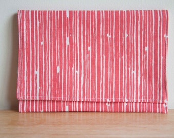 Melon Lines Clutch Purse with magnetic snap closure, foldover top, wallet, red drippy stripes