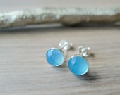 Sterling Silver Blue Chalcedony Studs, Faceted Blue Chalcedony, Simple Stone Studs, Blue Stone Earrings, Light Blue Chalcedony