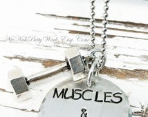 Workout Jewelry - Weight Lifting Jewelry - Fitness Necklace - Workout Jewelry - Barbell Necklace - Fitness Jewelry - Gift for Fitness Lover