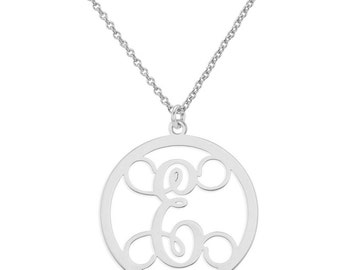 Personalized Initial A - Z Circle Monogram Pendant Necklace in 925 Sterling Silver - Monogram Necklace - Nameplate Necklace
