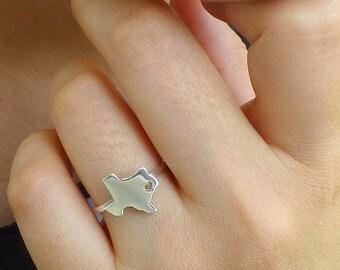 Sterling Silver Texas Ring / Custom Heart / Texas State Ring / Love Texas / Texas Map Ring / Texas Wedding / Texas Heart