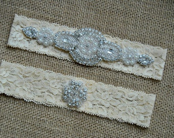 Crystal Garter Set, Wedding Garter Set Ivory, Bridal Garter Set, Vintage Wedding, Lace Garter, Crystal Rhinestone Garter and Toss Garter Set
