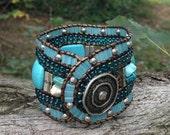 Beaded Leather Cuff, Southwestern Bracelet, Turquoise Beaded Bracelet, Southwestern Cuff, Turquoise & Silver Bracelet, Turquoise Beaded Cuff