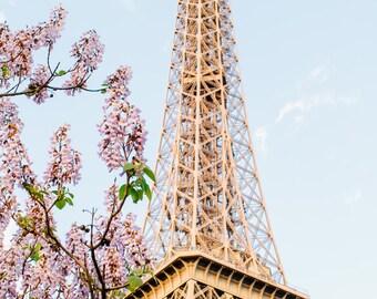 Paris Eiffel Tower Spring, Paris Photography, Romantic Art, Paris Wall Art, Paris Decor, Paris Sunset, Paris Nursery Decor, Eiffel Tower Pic