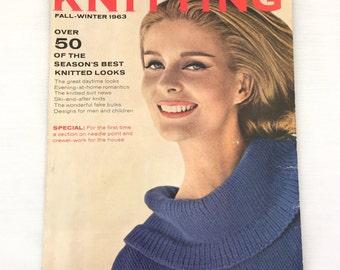 Vogue Knitting Book Fall Winter 1963; Vintage Vogue Knitting Magazine 1960s
