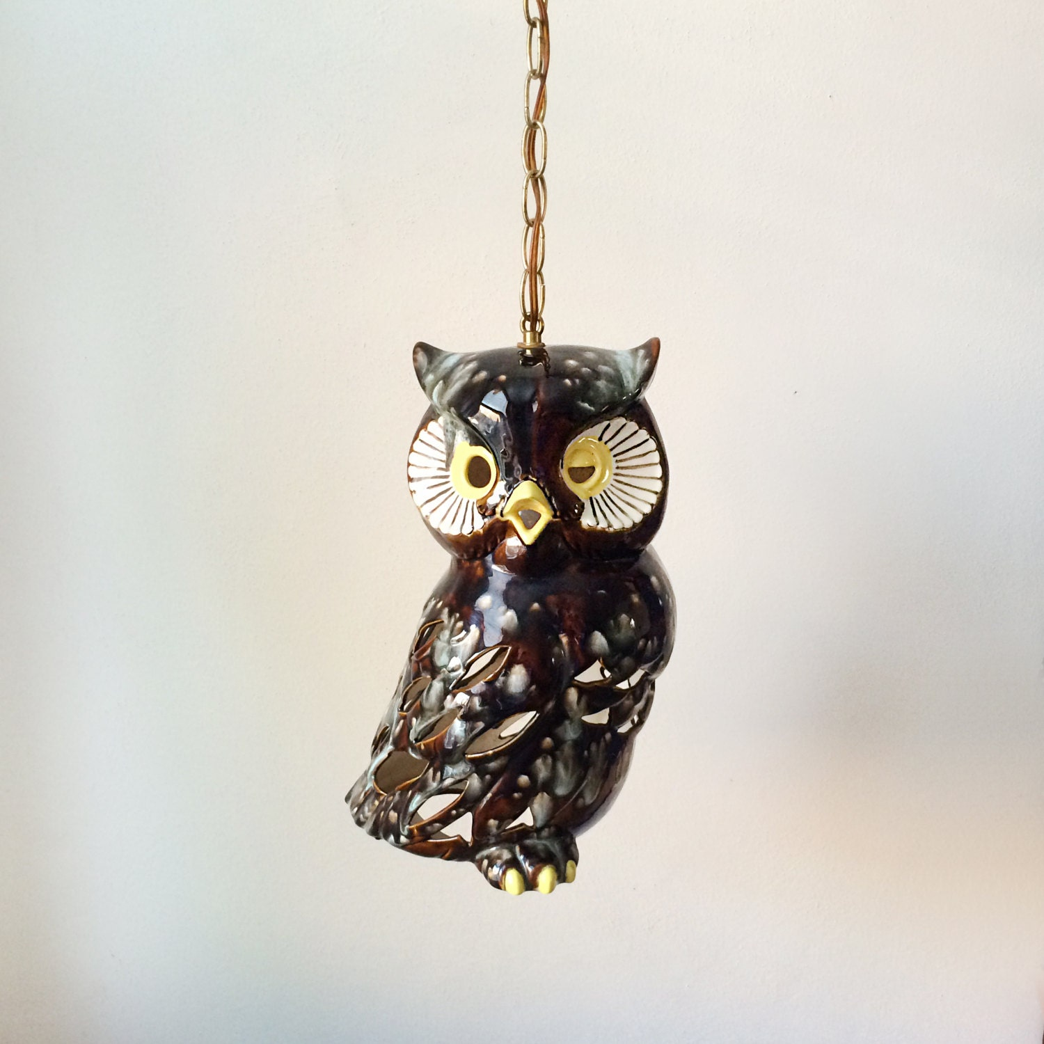 Vintage Owl Pendant Lamp Swag Lamp Hanging Light