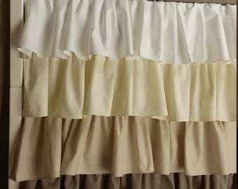 Crib Skirt Ruffle Four Tier, Beige Baby Bedding, Neutral, Made to order