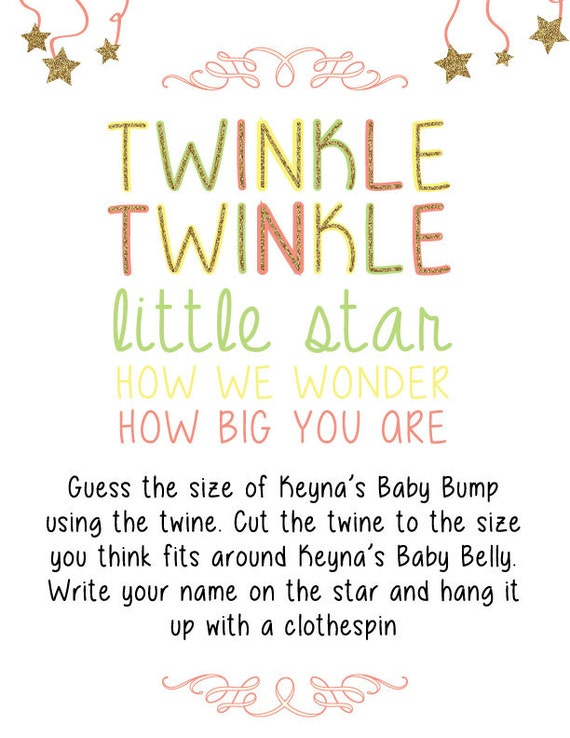 Twinkle Twinkle Little Star How We Wonder How Big You Are- Baby Shower Game - Digital Copy