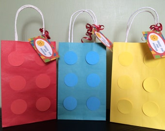 Lego Themed Personalized Party Favor Bags