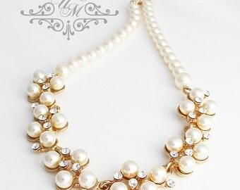 Wedding Jewelry Single stand Swarovski Pearl Necklace Bridal Necklace Bridesmaids Necklace Cluster Pearl Necklace Messy Pearl Necklace - GIA