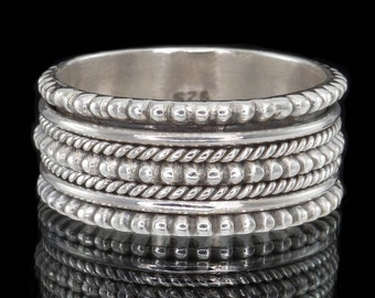 925 Sterling Silver Meditation Spinner Ring, Wedding Band, Men's or Women's Silver Ring - US Size 9 3/4 (T) #B148