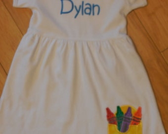 Back to School Dress with Crayons and Name