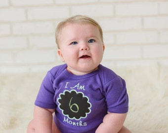 Baby Girl Monthly Chalkboard Bodysuit - Purple with Green