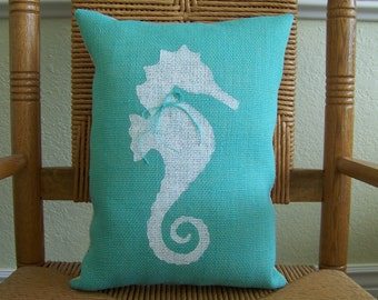 Seahorse pillow, Beach pillow, Nautical pillow, Burlap pillow, Seahorse stenciled pillow, Sea life pillow, FREE SHIPPING!