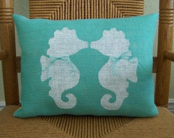 Seahorse pillow, Kissing seahorses pillow, Burlap Beach pillow, Beach decor, Stenciled sea life pillow, Nautical pillow, FREE SHIPPING!