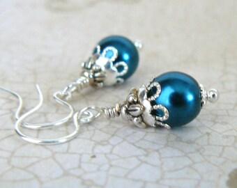 Teal Blue Earrings, Vintage Inspired Blue Green Pearl Dangles, Dark Turquoise Pearl Beaded Earrings, Teal Glass Pearl Jewelry