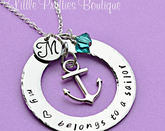 My Heart Belongs to a Sailor Necklace, Navy Wife Necklace, Hand Stamped, Nautical Theme, Navy Jewelry, Wife Necklace, Anchor Necklace