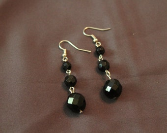 Hand crafted black dangle earrings