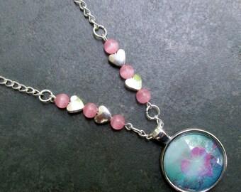 Heart Burst Glass Pendant Necklace