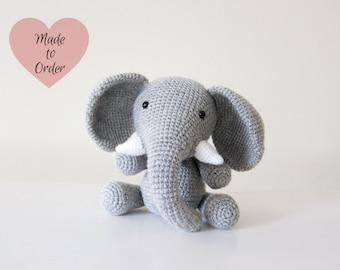 MADE TO ORDER: Amigurumi Baby Elephant Crochet Stuffed Toy