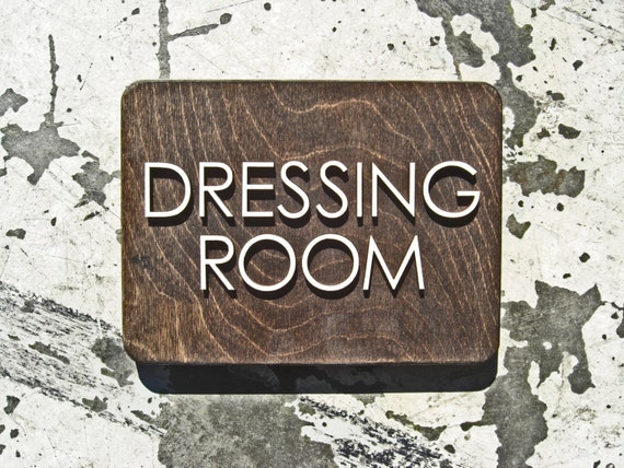 Dressing room laser cut sign office way finding signage for Interior design signs