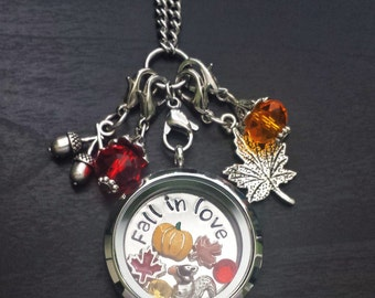 Fall Floating Charm Locket Necklace-Includes Locket, Chain, Charms, Window Plate, & Dangles-Gift Idea