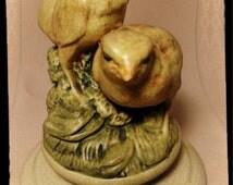"""Antique Weller Pottery Muskota """"Chicks"""" Flower Frog CA. 1915 Matte Yellow Green / Weller Birds / Weller Muskota Chicks / F1042"""
