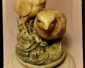 "Antique Weller Pottery Muskota ""Chicks"" Flower Frog CA. 1915 Matte Yellow Green / Weller Birds / Weller Muskota Chicks / F1042"