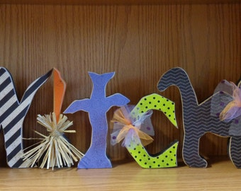 Halloween Decor- Fall Decor- Witch Decor-Witch Letters w/black cat and broom