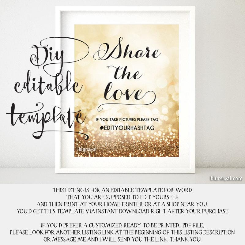 Printable Hashtag Sign TEMPLATE Diy Wedding