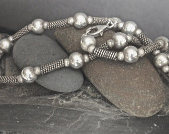 Vintage Sterling Silver Beads and Rope Bars Necklace